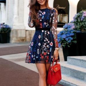 CBR Blue Floral Mesh Embroidered Flare Dress